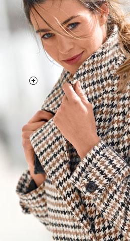 Manteau femme caban mi-long marron et noir imprimé pied-de-poule manches longues drap de laine pas cher - Blancheporte