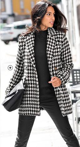 Manteau femme caban mi-long noir imprimé pied-de-poule manches longues drap de laine pas cher - Blancheporte