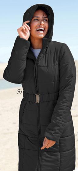 Doudoune femme longue noire ceinturée à capuche amovible manches longues  Colors & Co® pas cher - Blancheporte