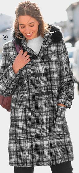 Duffle-coat femme noir mi-long capuche amovible fausse fourrure imprimé carreaux manches longues pas cher - Blancheporte
