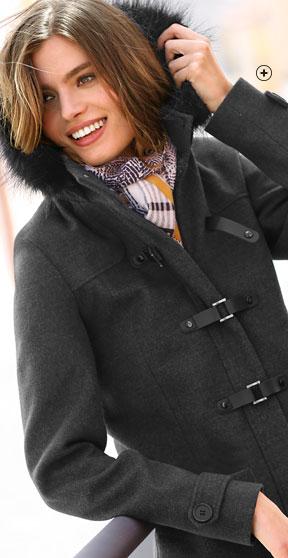 Duffle-coat femme mi-long noir capuche amovible fausse fourrure manches longues pas cher - Blancheporte