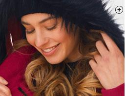 Duffle-coat femme mi-long rouge capuche amovible fausse fourrure aspect drap de laine uni manches longues pas cher - Blancheporte