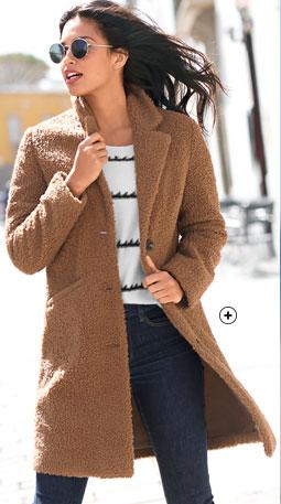 Manteau femme long marron maille bouclette col tailleur manches longues pas cher - Blancheporte