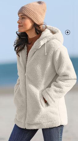 Manteau femme blanc maille bouclette capuche zippé col montant pas cher - Blancheporte