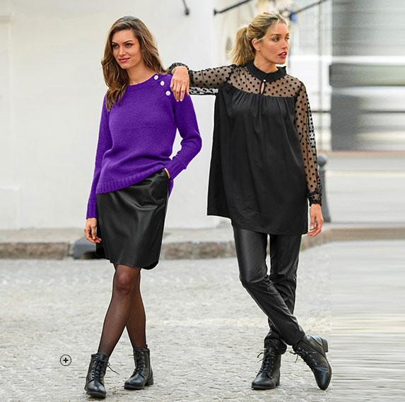 Casual dames-outfit met cardigan, zwarte broek en laaggeprijsde leren bottines - Blancheporte