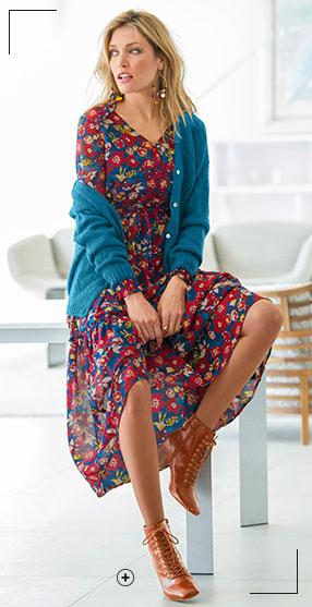 Look met lange jurk van voile en laaggeprijsde leren bottines – Blancheporte