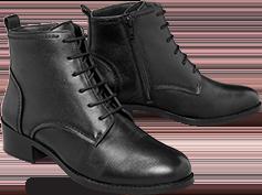 Zwarte, comfortabele damesbottines in leer met vetersluiting, goedkoop - Blancheporte