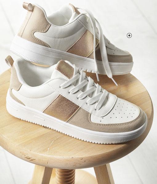 Damessneakers in wit en beige met fantasie en platformzool, goedkoop - Blancheporte
