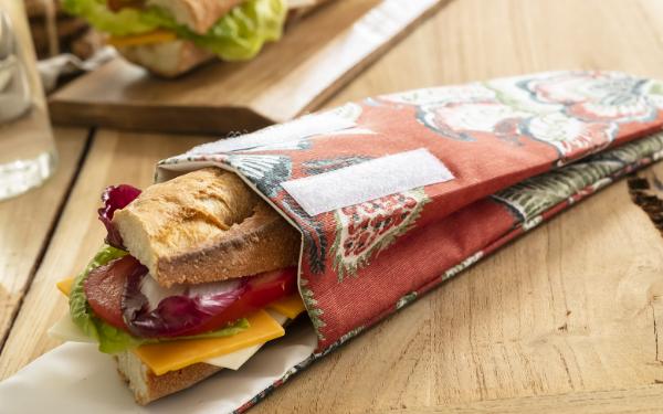 Pochette alimentaire réutilisable en tissu pour sandwich baguette pas cher - Blancheporte - Collection upcycling