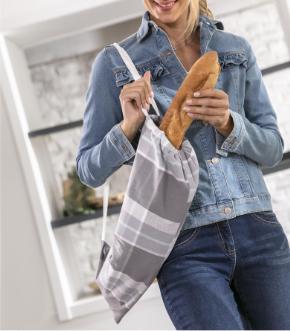 Sac à pain gris en tissu flanelle pas cher - Blancheporte - Collection upcycling